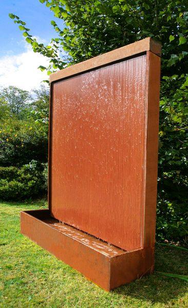 6ft Corten Steel Vertical Water Wall LED Light Feature Fountain Cascade  Garden In Garden U0026 Patio