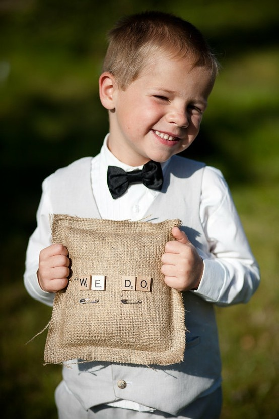 ring bearer pillow, great for vintage I like the safety pins. So hopefully they don't get loose or lost.