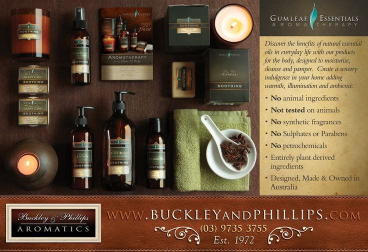 Buckley & Phillips - Aromatherapy 1/2 page ad. Good Health Magazine July 2013.