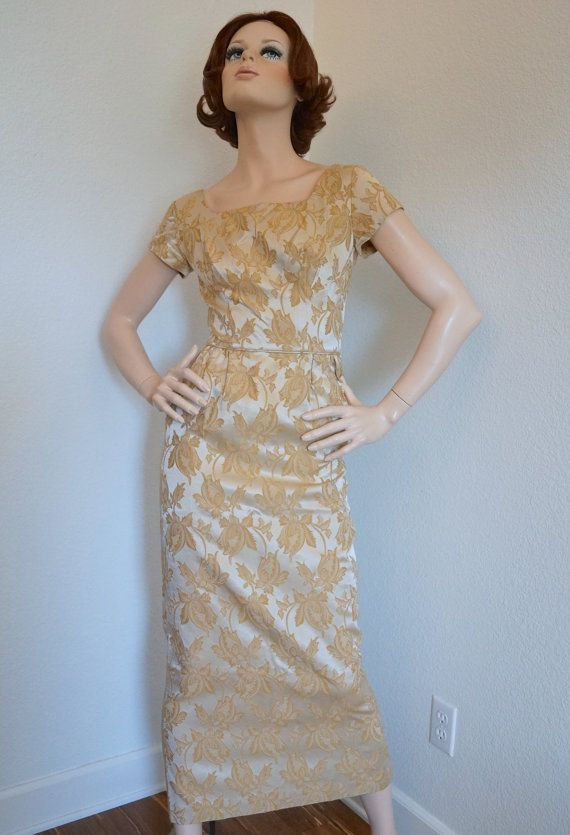 Vintage 1950s 1960s Dress /  50s 60s Gold by snapitupvintage