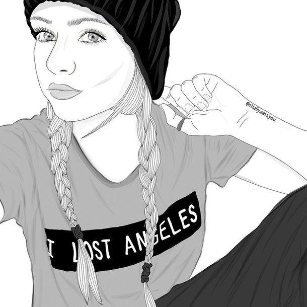 art, beanie, braids, outline, outlines, tumblr, tumblr ...