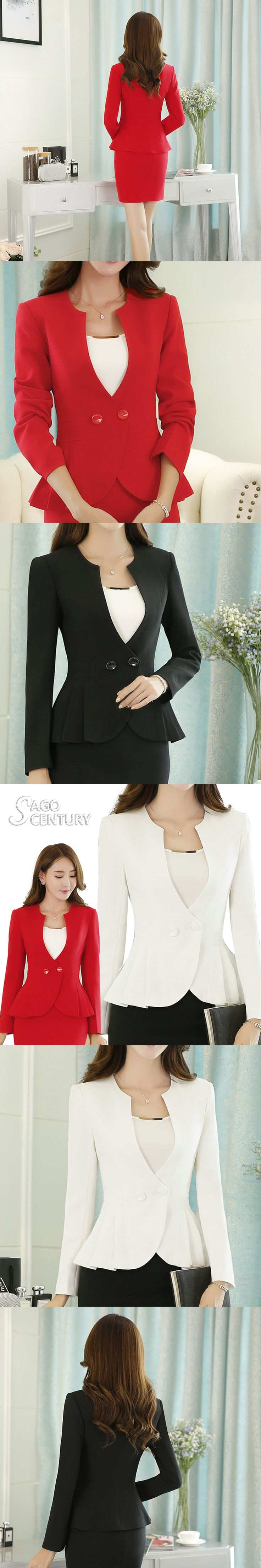 2017 New Spring Slim Long Sleeve feminino Blazer Work Office Lady Business Outwear Casual Coat Plus Size S-4XL Jacket For Women
