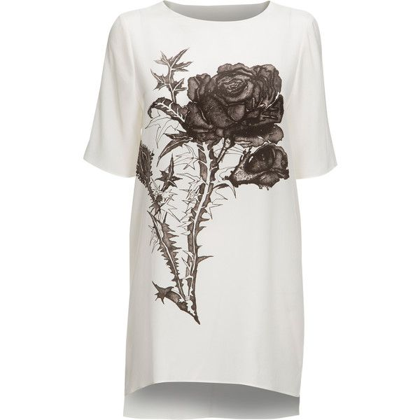 Mairi McDonald - Love Silk T-Shirt Dress ($320) ❤ liked on Polyvore featuring dresses, tops, shirts, robe, silk dress, rosette dress, t shirt dress, cut out dress and silk t shirt dress