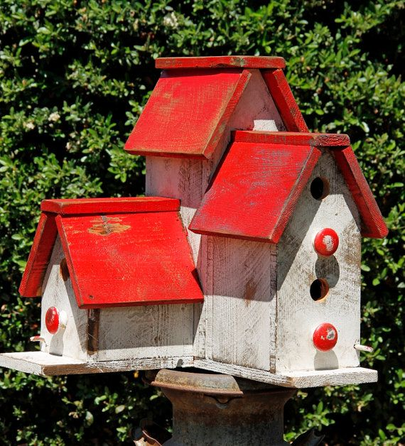 Cottage chic birdhouse, victorian birdhouse, primitive birdhouse, functional birdhouse, large birdhouse, Antique style birdhouse
