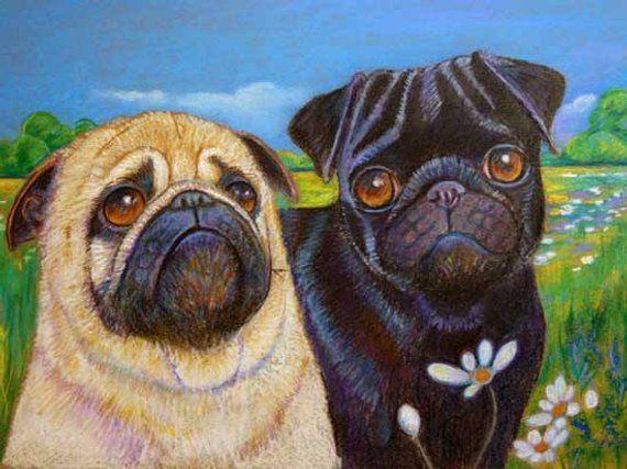 Fawn Pug Art Black Pug Fawn Pug Painting Landscape Original Dog