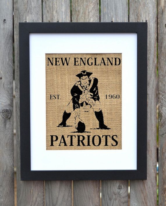 New England Patriots, Burlap Wall Decor, Burlap Wall Art, Frame Included
