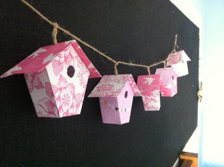 Mini birdhouse bunting made from scrapbooking paper