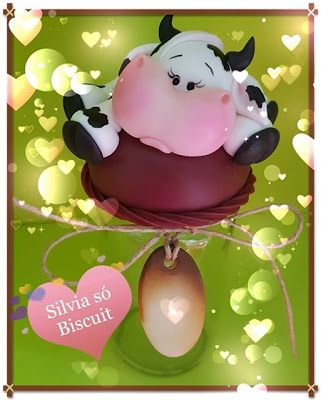 SILVIA SÓ BISCUIT: Um pote de uma linda vaquinha para a cozinha!!!!#p...