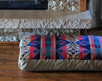 Southwestern Dog Bed // Western Dog Bed // Wool Dog Bed // Canvas Dog Bed // Red Dog Bed // Blue Dog Bed // Rustic Dog Bed