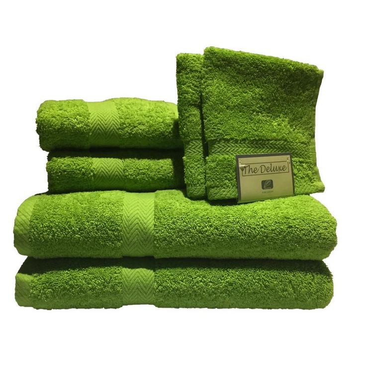 Deluxe 6-Piece Cotton Terry Bath Towel Set in Lime (Green)
