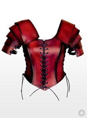 Female Gladiator Leather Breast Armour red from maskworld.com