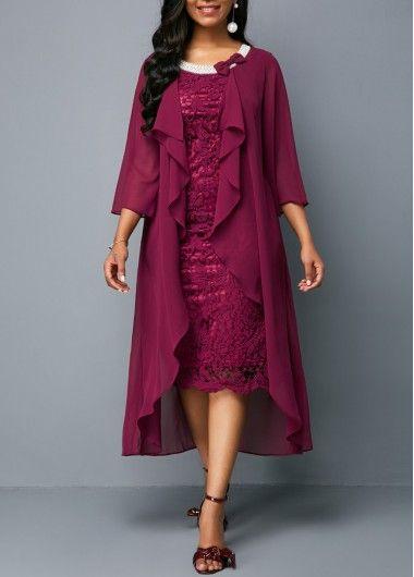 46ccab57429 Rosewe Women Dress Purple Overlay Chiffon Lace Overlay Flowy Holiday ...