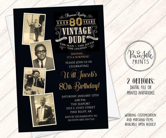 Vintage Dude Photo Birthday Invitation Through The Ages Milestone Invita