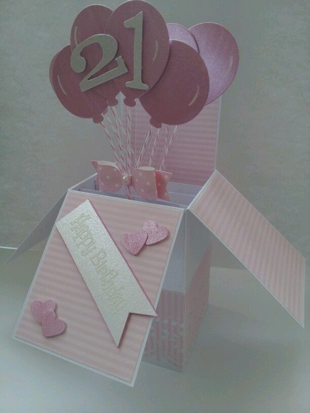 21st Birthday pop up box card
