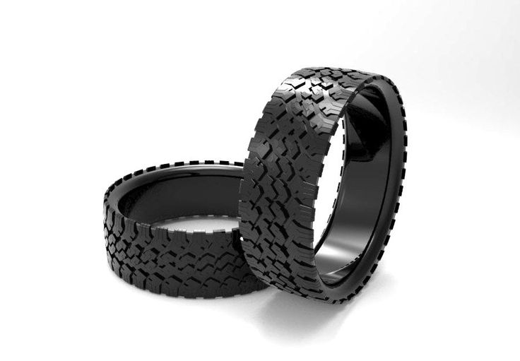 Custom Made Mens' Tire Wedding Band Black Silver Tire Ring Tread... would be great for the guy who's hobby it's working on cars or Something-Heather Scott
