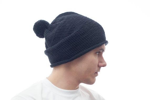 Black Mens PomPom Knit Hat Hand Knitting Cloche by OneHatStore