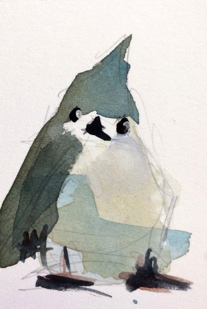 Tufted Titmouse no. 52 original bird watercolor painting Angela Moulton ACEO Art #Impressionism