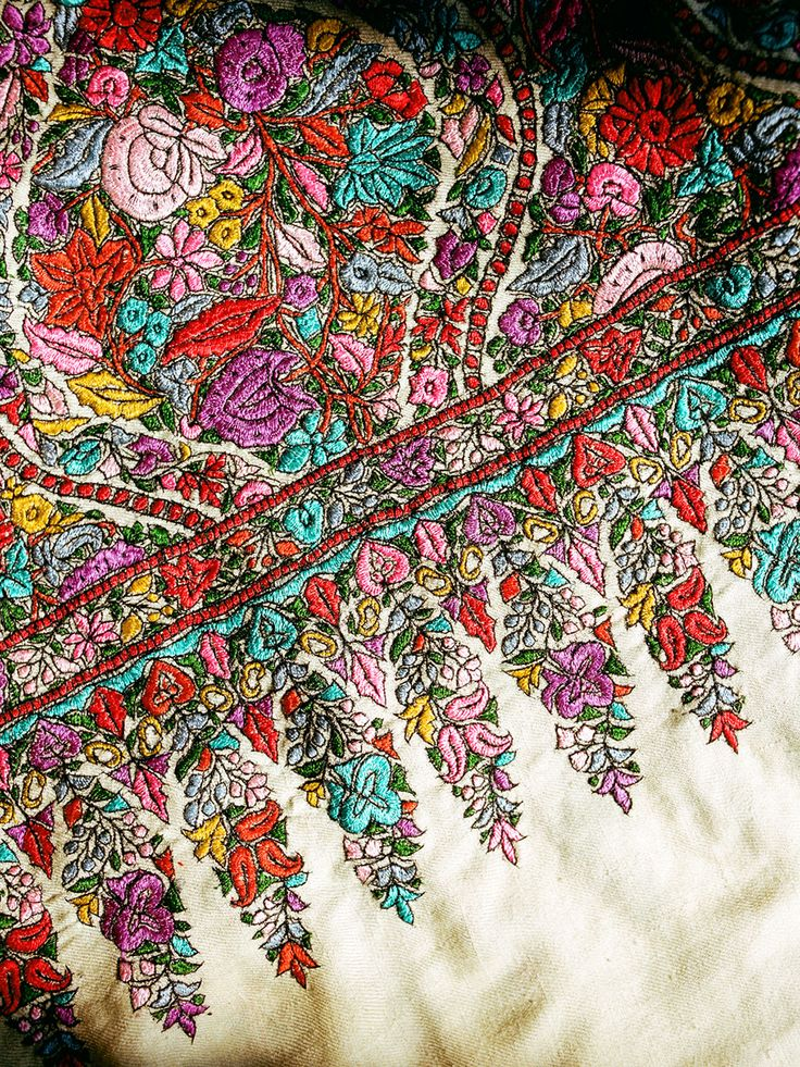 A close-up of a kani sozni shawl at Beigh. These shawls can take two or more years to embroider and will cost thousands of dollars.
