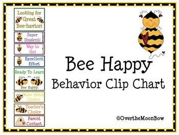Bee Happy Behavior Clip Chart School Stuff Pinterest