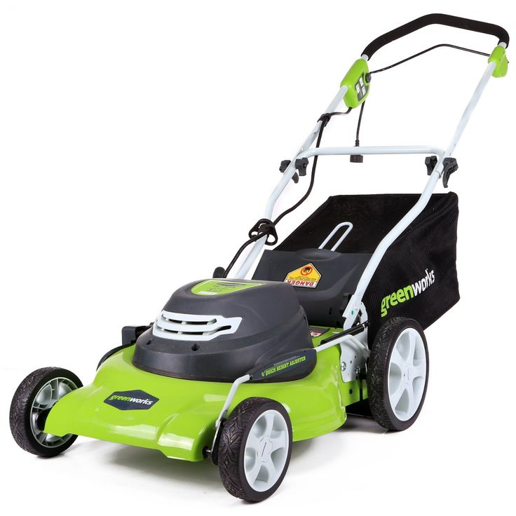 The GreenWorks 25022 12 Amp 20-in 3-in-1 Electric Lawn Mower has a Powerful 12 Amp motor for getting the job done ; California Proposition 65•Robust steel 20″ cutting deck offers highest performance and durability•3-in-1 feature provides multiple options for grass clippings from rear bagging, side discharge and mulching capabilities for versatile needs•