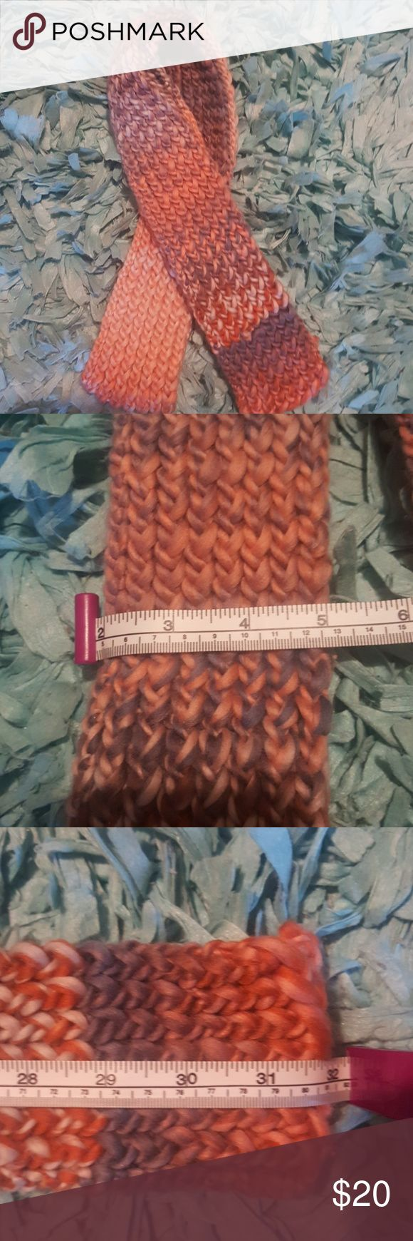 **SOLD**Handmade Knitted Scarf NWOT Multi Color Scarf Loom Knitted  Approx 5in wide (see pic) Approx 64 in long(See pic, folded ) Other