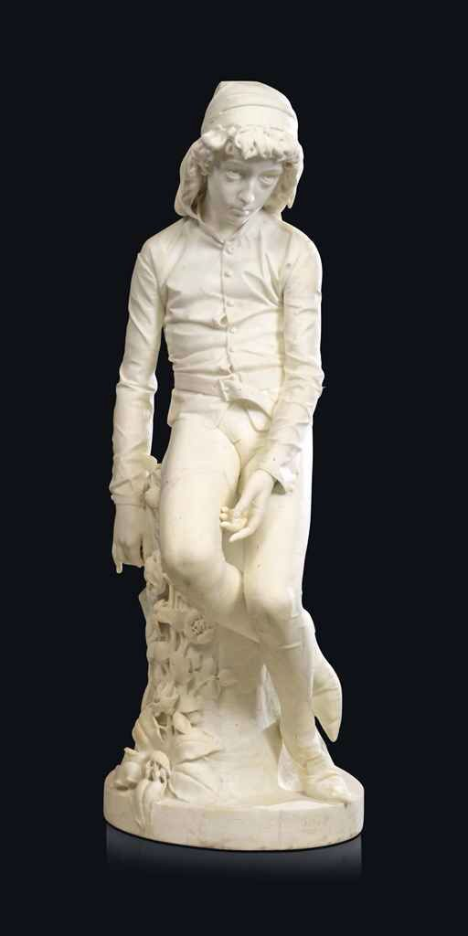 A ITALIAN MARBLE FIGURE OF DANTE AS A YOUTH BY BENEDETTO CIVILETTI ( 1846-1890), PALERMO, DATED 1876.