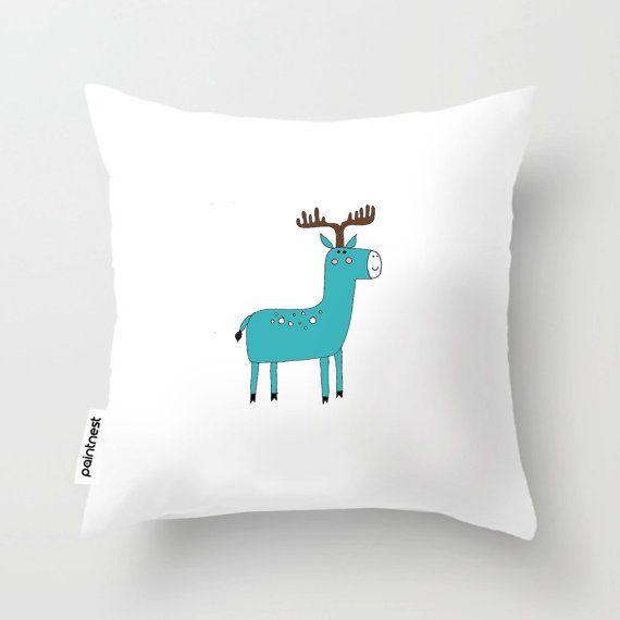 Blue Deer children pillow/Children's Throw Pillow by Thepaintnest