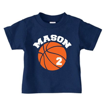 Personalized basketball birthday t shirt, boy basketball shirt with name and number. $16.99, via Etsy.