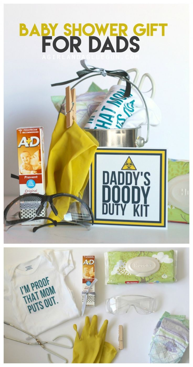 funny baby shower gift--daddy's doody duty kit. All the funny things you need to change a baby! a girl and a glue gun