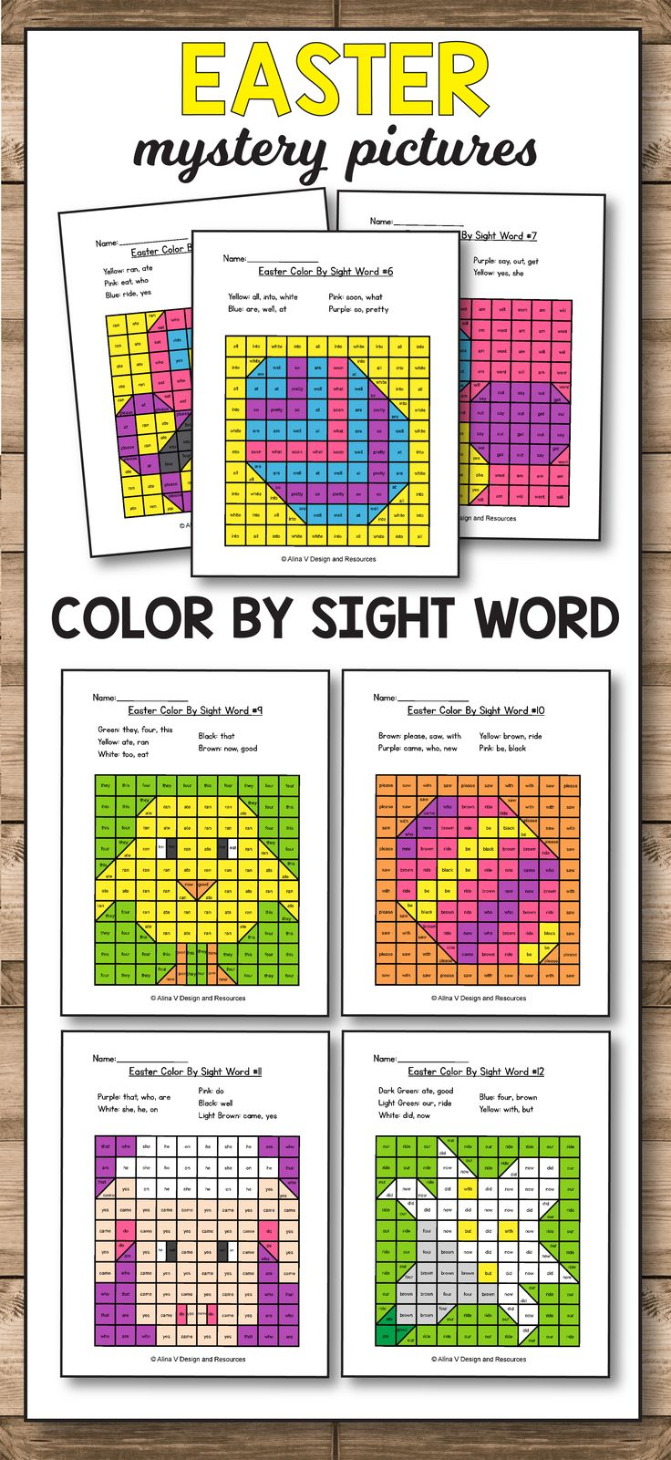 Easter Color By Sight Word - Easter Activities for Kindergarten Printables is fun with these preschool, kindergarten and first grade color by sight word games. These worksheets are a great addition to your math and literacy centers. Your students will enjoy these color by sight word games that you can add to morning work and even homework.  #easter #activities #coloring #pages #sightwords #kindergarten #1stgrade students #literacycenters #commoncores