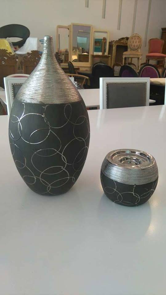 conjunto jarrn y bola negro y plata fabricacin restauracin muebles de estilo lnea