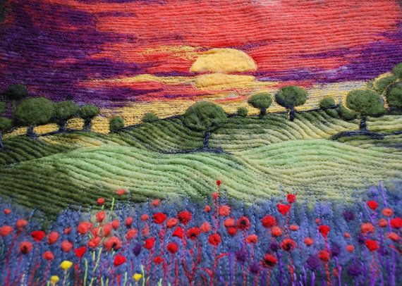 "Beautiful texture in this quilt  Beautiful sunset in a flower meadow! This picture will look great in any interior - nice landscape!    This is an original 3d needlefelted and embroidered picture with size of 16,1"" x 15"". Absolutely unique!"