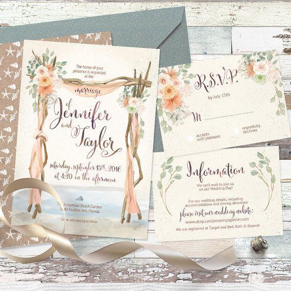 Floral arch wedding driftwood gates beach boho destination Invitation. DIGITAL printable files. Original artwork. Customized by me with your