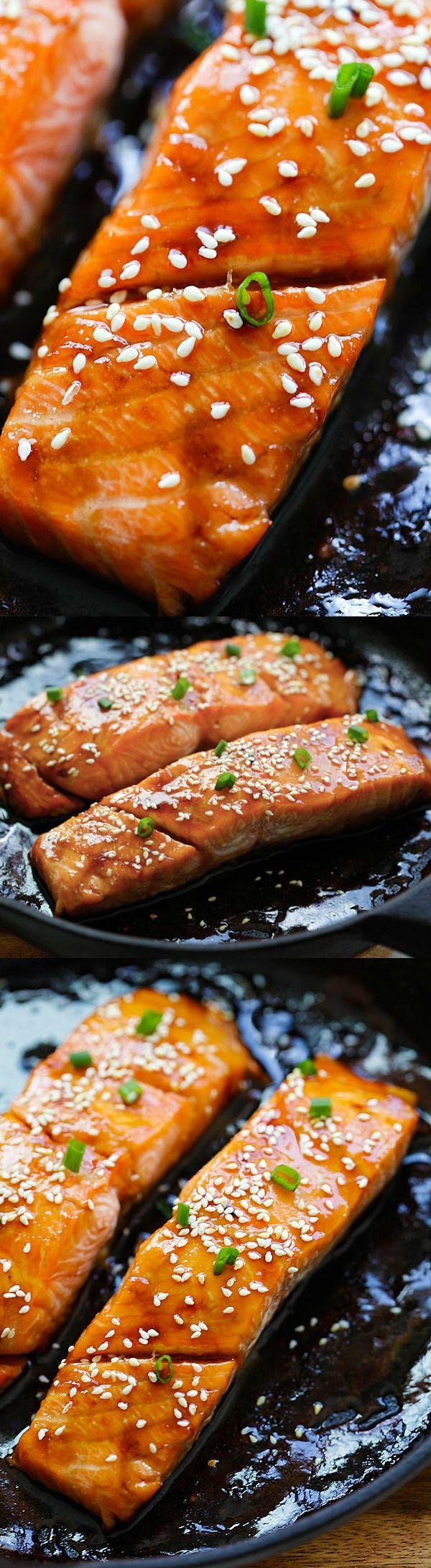 Honey Teriyaki Salmon – sticky sweet, savory salmon with honey ...