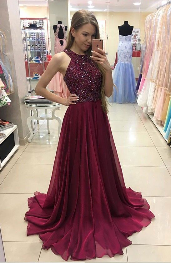 Burgundy Chiffon Long Prom Dress, Halter Prom Dress,