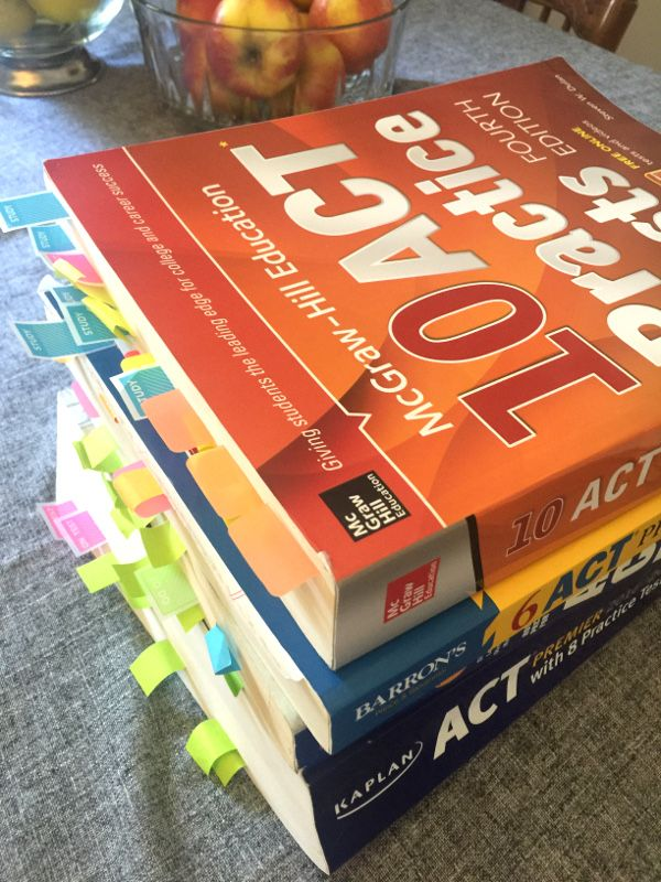 which ACT test prep books are the best; and don't forget those post-it flags!