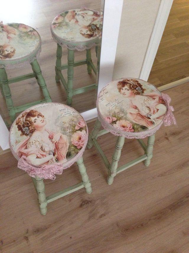 Green painted & vintage ladies decoupaged bar stools