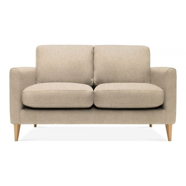 Lennox Small 2 Seater Sofa Woven Wool Beige Leg Natural 2