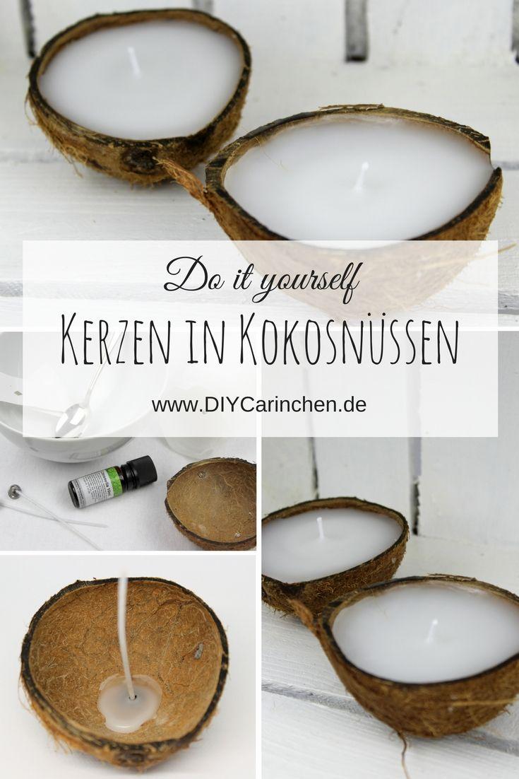 DIY Kerzen in einer Kokosnussschale ganz einfach selber machen