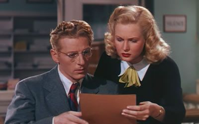 Danny Kaye and Virginia Mayo in Wonder Man (1945)