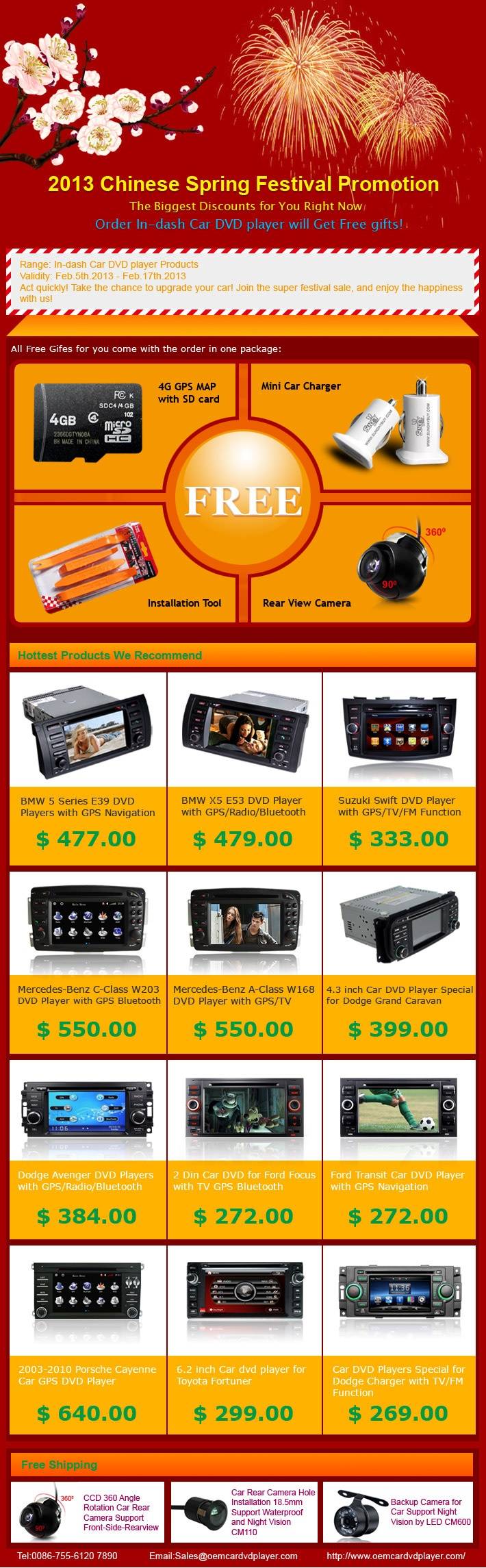 Now you can get free gift (4G SD card + Car Charger+ backup Camera + Installation Tool) for in dash car dvd player retail order! http://www.oemcardvdplayer.com/