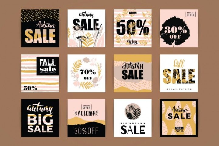 12 fall sale templates By Grape Studio