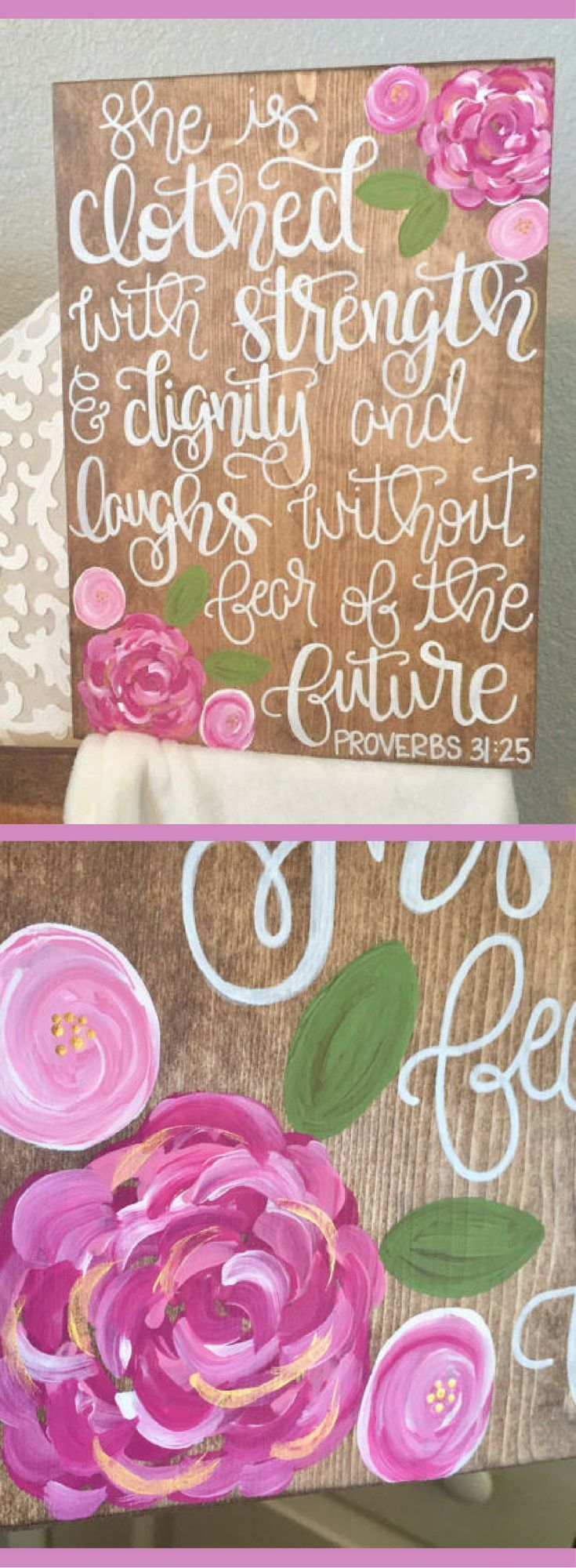 She is clothed with strength and dignity and laughs without fear of the future Proverbs 31:25 sign, Scripture wall art, baby shower gift, baby girl nursery sign, rustic nursery decor, pink floral nursery decor #affiliate