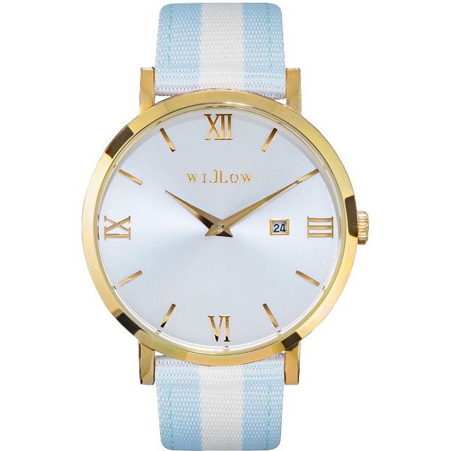 Willow Napoli Watch in Gold with Blue & White Strap | Buy Women's Watches