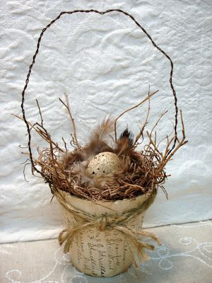 ~ The Feathered Nest ~ peat pot birds nest www.MadamPaloozaEmporium.com www.facebook.com/MadamPalooza
