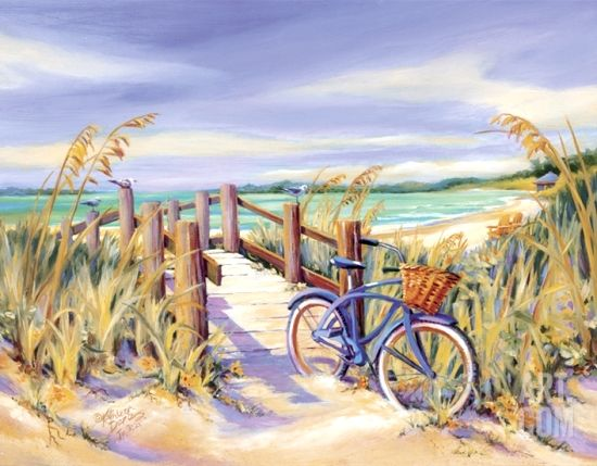 Peaceful Beach Paintings at Beach Bliss Living. Parked bike with basket by the beach: http://beachblissliving.com/beach-paintings-kathleen-denis/