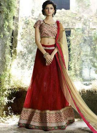 Fabulous red n cream net embroidery work lehanga choli http://www.angelnx.com/Lehenga-Choli/Designer-Lehenga-Choli