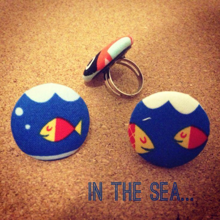 Anelli marittimi #sea #summer #sun #beach #hot #fish #blub #ocean #surf #water #drop #bubble  #ring #button #accessories #nature #handmade #craft #diy #style #jewels #fabric #bmilk2014 #bllackmilkhm
