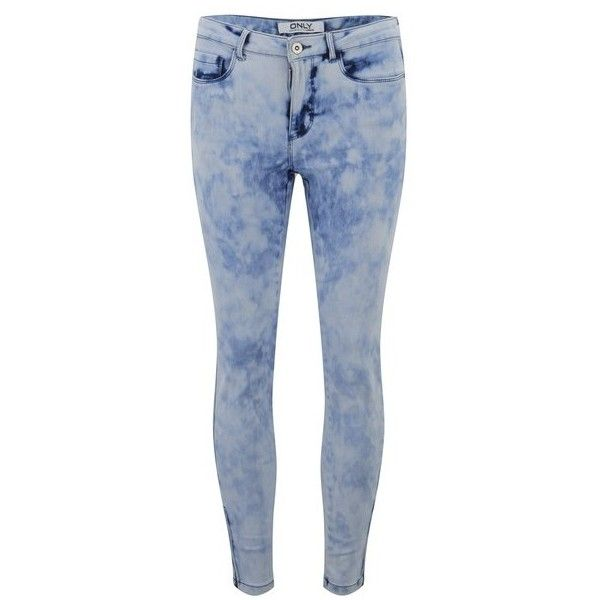 ONLY Women's Skinny Acid Wash Ankle Jeans (£32) ❤ liked on Polyvore featuring jeans, pants, bottoms, pantalon, calças, blue, blue skinny jeans, zipper jeans, ankle length skinny jeans and short pants