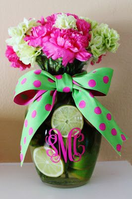 I bought fresh limes & pink and green carnations from the grocery store and turned it into this floral arrangement for the Monograms and Margaritas Bridal Shower